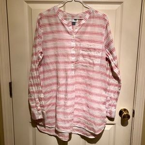 Old Navy white tunic XL with red pink coral